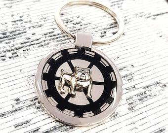Steampunk Bulldog Keyring Dog Keychain