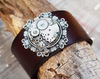 Steampunk Owl Leather Cuff Bracelet, Steampunk Wrist Cuff Wristband Bracelet, Owl Nightbird Fashion Jewelry Cuff, Steampunk Outfit Gifts