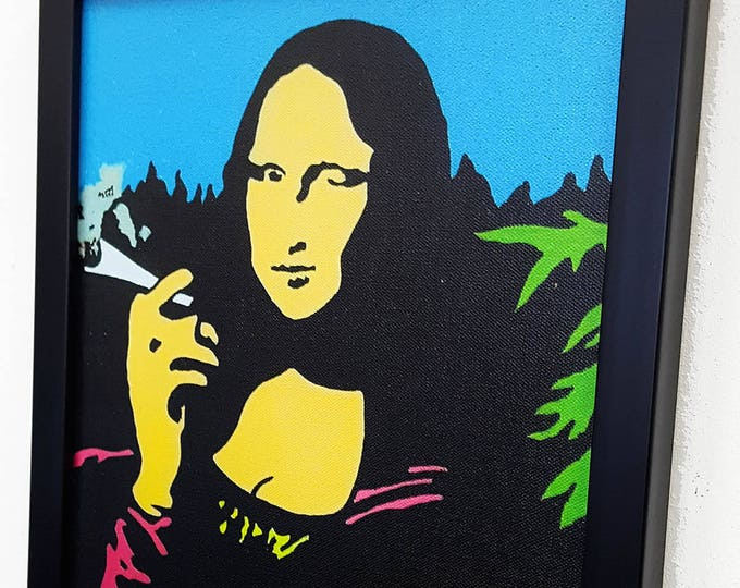 Featured listing image: Mona Lisa With A Burning Blunt -_- Leonardo da Vinci inspired  -_- Framed Wall Art Giclee Canvas Paint