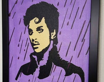 Prince Purple Rain Framed Wall Art, Prince Paint Mixed media on canvas, Prince framed Painting, Prince Artwork