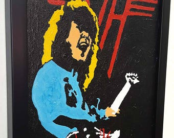 Eddie Van Halen Wall Art Guitar Original Acryl Painting Framed Canvas Artwork Rock n Roll Decor Gift World Tour