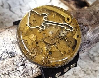 Guitar Leather Wristband Cuff Bracelet-Steampunk Bracelets Armband Watch Parts Jewelry Gifts
