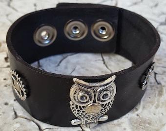 Steampunk Owl Leather Cuff Bracelet -Watch parts Vintage Bracelets-Wristband cuffs- Amazing Girlfriend Ladies gift