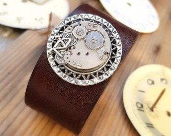 Bicycle Leather Bracelet - Steampunk Wrist Cuff Wristband