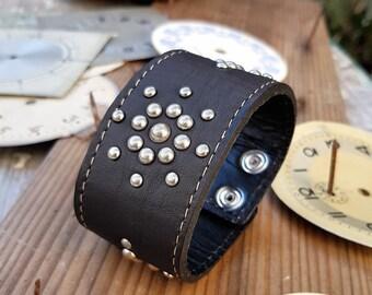 Steampunk Cuff Brown Leather Bracelet