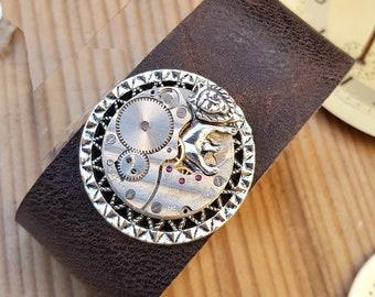 Steampunk Lion Leather Cuff Bracelet