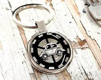 Vintage Car Keychain Personalized Keyring, New Driver Vintage Metal Car Keychain for Keys, Steampunk Car Gift, Engraved Custom Car Keychain