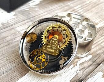 Metal Herb Grinder - Steampunk Buddha Spice Crusher -