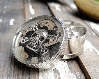 Metal Herb Grinder-Steampunk Skull Spice Crusher -