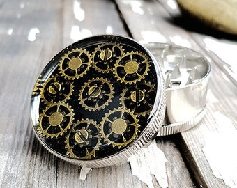 Steampunk Flower Gold Mess Spice Crusher -Tobacco Fine Herbs Weed grinders- Amazing pocket size stoner gift 4:20 girl boy