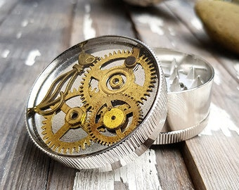 Metal Herb Grinder - Steampunk Cat Spice Crusher - Spices Tobacco Fine Herbs Weed grinder - Amazing pocket size stoner gift 4:20 girls boys