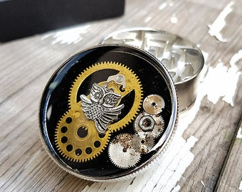 Metal Herb Grinder - Steampunk Owl Spice Crusher-