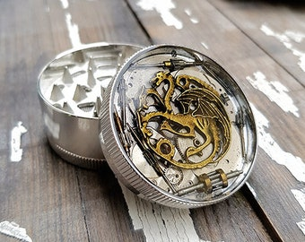Metal Herb Grinder - Game of Thrones inspired Spice Crusher -Spices Tobacco herbs weed grinder -Pocket size stoner gift for 4:20 girls boys