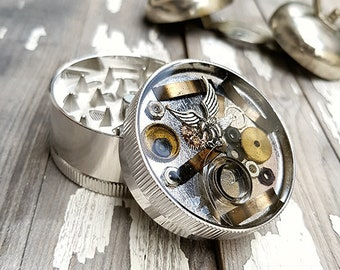 American Eagle Spice Grinder -Tobacco Fine Herbs Weed Grinders- Amazing pocket size watch part stoner gift 4:20 girls boys-