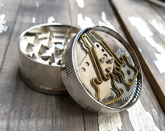 Metal Herb Grinder - Guitars Steampunk Spice Crusher - herbs spices weed grinders - Amazing pocket size stoner gift 4:20 girls and boys