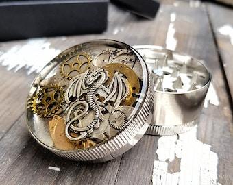 Metal Herb Grinder - Steampunk Silver Dragon Spice Crusher