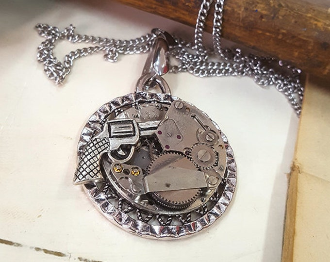 Featured listing image: Steampunk Revolver  Necklace Pendant -Watch Part Necklaces- Amazing jewelry Gifts for Pistol Steampunk Lady Gun Western Cosplay Costume