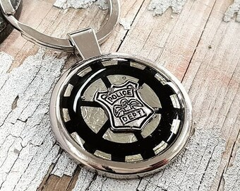 Steampunk Keyring Police Keychain Badge Gift, Metal for Keys Personalized Engraved Custom Wife or Husband of a Police Officer Gifts Keychain