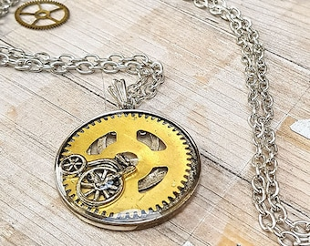 Steampunk Vintage Bicycle Necklace