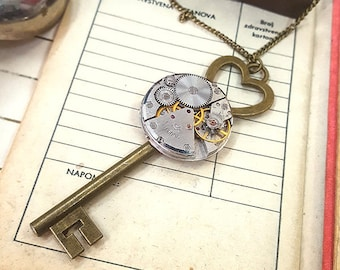 Steampunk Key To My Heart Necklace