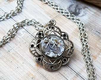 Bike Necklace Bicycle Steampunk Medallion