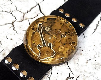 Guitar Leather Wristband Cuff Bracelet-Steampunk Bracelets Armband Watch Parts Jewelry Gifts
