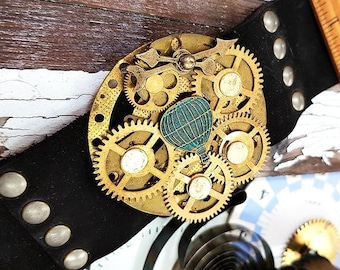 Steampunk Balloon Bracelet, Leather Wristband Cuff Bracelet, Copper Armband, Steampunk Jewelry Fashion Watch Part Bracelet