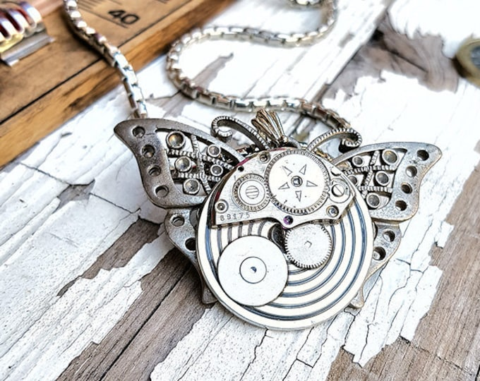 Featured listing image: Steampunk Butterfly Necklace Pendant