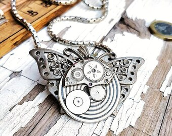 Steampunk Butterfly Necklace Pendant
