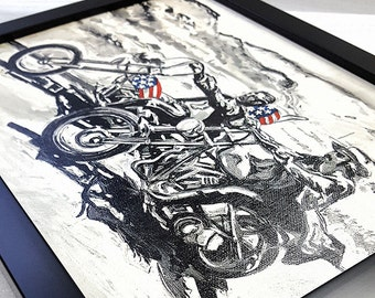 Easy Rider Framed Wall Art Biker Painting Mix Media Canvas Artwork Giclee Print Born to be Wild- Great Rock'n'Roll Home Decor Bikers Gifts