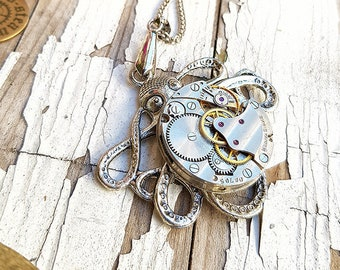 Steampunk Octopus Necklace Watch Fashion Sea Jewelry - Amazing Silver Octopus Pendant Gothic Necklace Sea Creatures Octopoda Gears