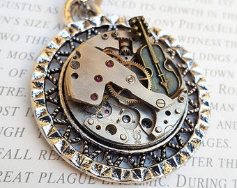 Steampunk Violin Pendant Necklace Watch Part Vintage