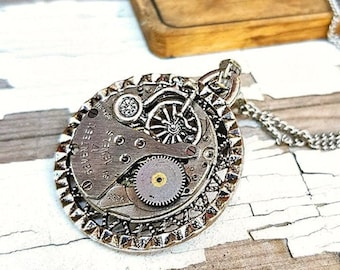 Steampunk Bicycle Necklace, Watch Part Vintage Bicycle Jewelry Industrial Bike Necklaces, Fitness Cycling Gifts Woman Necklace Biker Girl