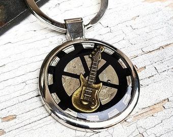 Guitar Keychain Steampunk Keyring