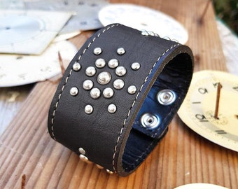 Steampunk Cuff Brown Leather Bracelet