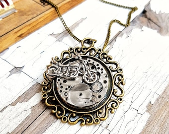 Biker Necklace Motorcycle Jewelry Steampunk Pendant
