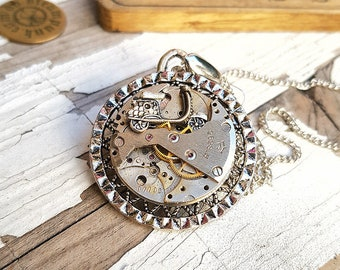 Vespa Motorcycle Necklace Steampunk Charm Pendant -Watch Part Necklaces- Biker Girl Motorcycle Gifts Scooter Vespa Art