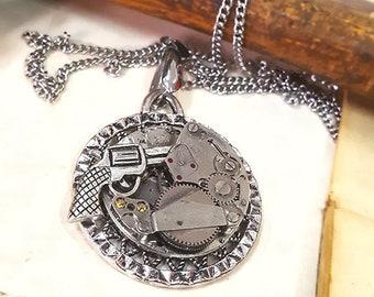 Steampunk Revolver Necklace