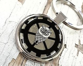 Keychain Owl Silver KeyRing Steampunk
