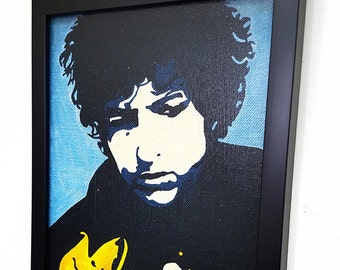 Bob Dylan Wall Art Framed Canvas, Bob Dylan Poster Painting Mixed Media Wall Hanging, Forever Young Fan Gift, Rock and Roll Art Wall Decor