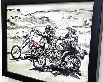 Easy Rider Framed Wall Art Biker Painting Mix Media Canvas