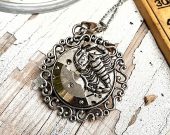 Steampunk Scorpion Necklace Zodiac Pendant