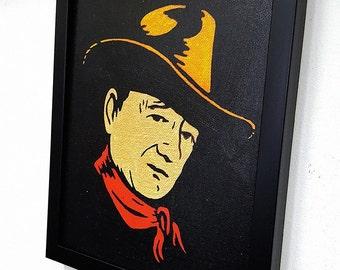 John Wayne Framed Wall Art, John Wayne Gacy Canvas Painting Paint, John Wayne Poster Western Home Decor