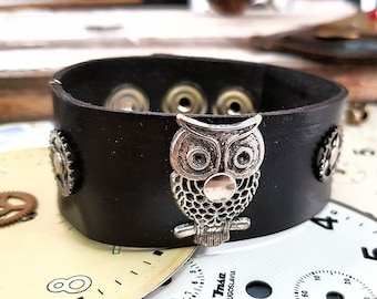 Steampunk Owl Cuff Bracelet Leather