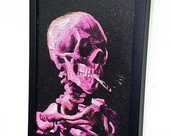 Pink Skull Van Gogh Framed Wall Art