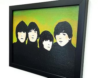 Green Retro Framed Wall Art Pop Art Canvas Gifts Mixed Media Paint Painting Poster Print Fanart Gift Rock n Roll Home Decor