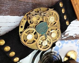 Steampunk Balloon Bracelet, Leather Wristband Cuff Bracelet, Copper Armband, Steampunk Jewelry Fashion Watch Part Bracelet