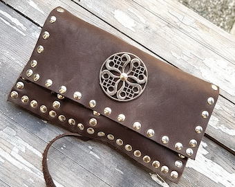 Steampunk Tobacco Pouch Leather Brown Rolling Case Bag Gift for Smoker Accessorie