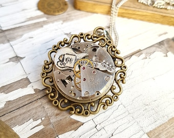 Rock n Roll Guitar Necklace, Watch Part Necklace Guitar Pendant, Biker Necklace, Ukulele Necklace, Guitar Gifts for Teacher Steampunk Gift
