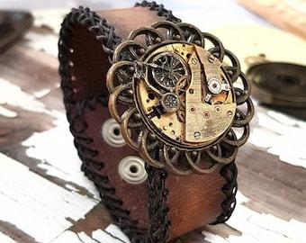 Vintage Bicycle Bracelet Leather Cuff Steampunk